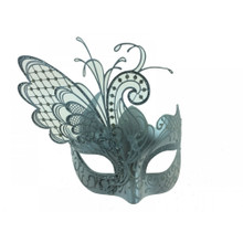 Venetian mask w/ metal butterfly wing laser-cut and crystals White/Silver