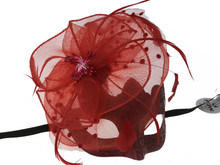 Masquerade mask with feather Burgundy