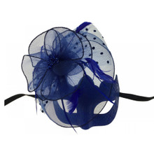 Masquerade mask with feather Blue
