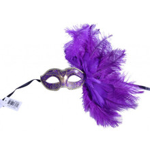 Masquerade Purple mask with feather