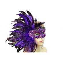 Masquerade venetian party mask with feather PURPLE