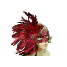Masquerade venetian party mask with feather RED