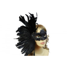 Masquerade venetian mask with feather BLACK