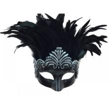 Roman venetian eye mask with Feather Silver