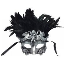 Roman venetian eye mask with Feather -Silver