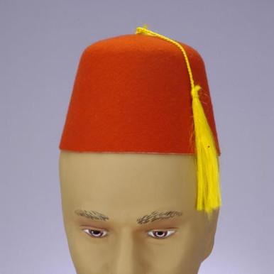 FEZ HAT RED W/BLK TRIM & TASSEL