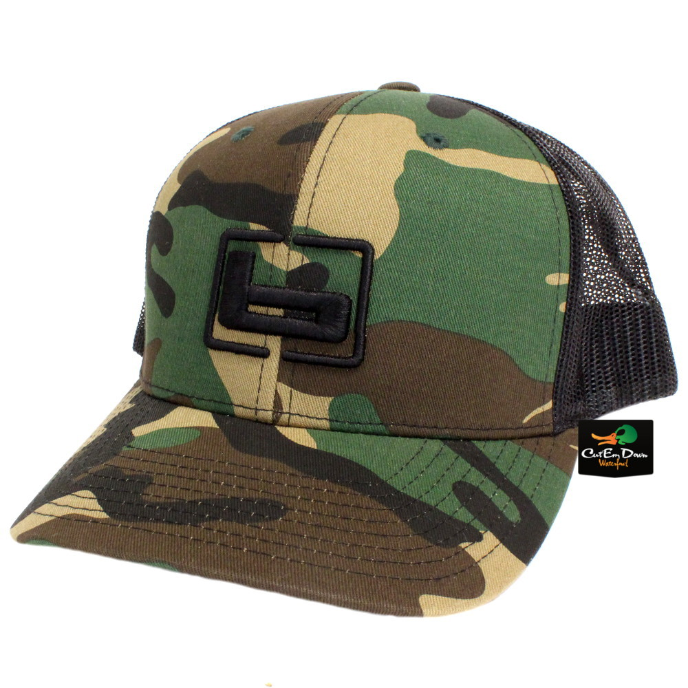 ee3dce6f6f22d Details about NEW BANDED TRUCKER CAP MESH BACK HAT CLASSIC CAMO AND BLACK  W