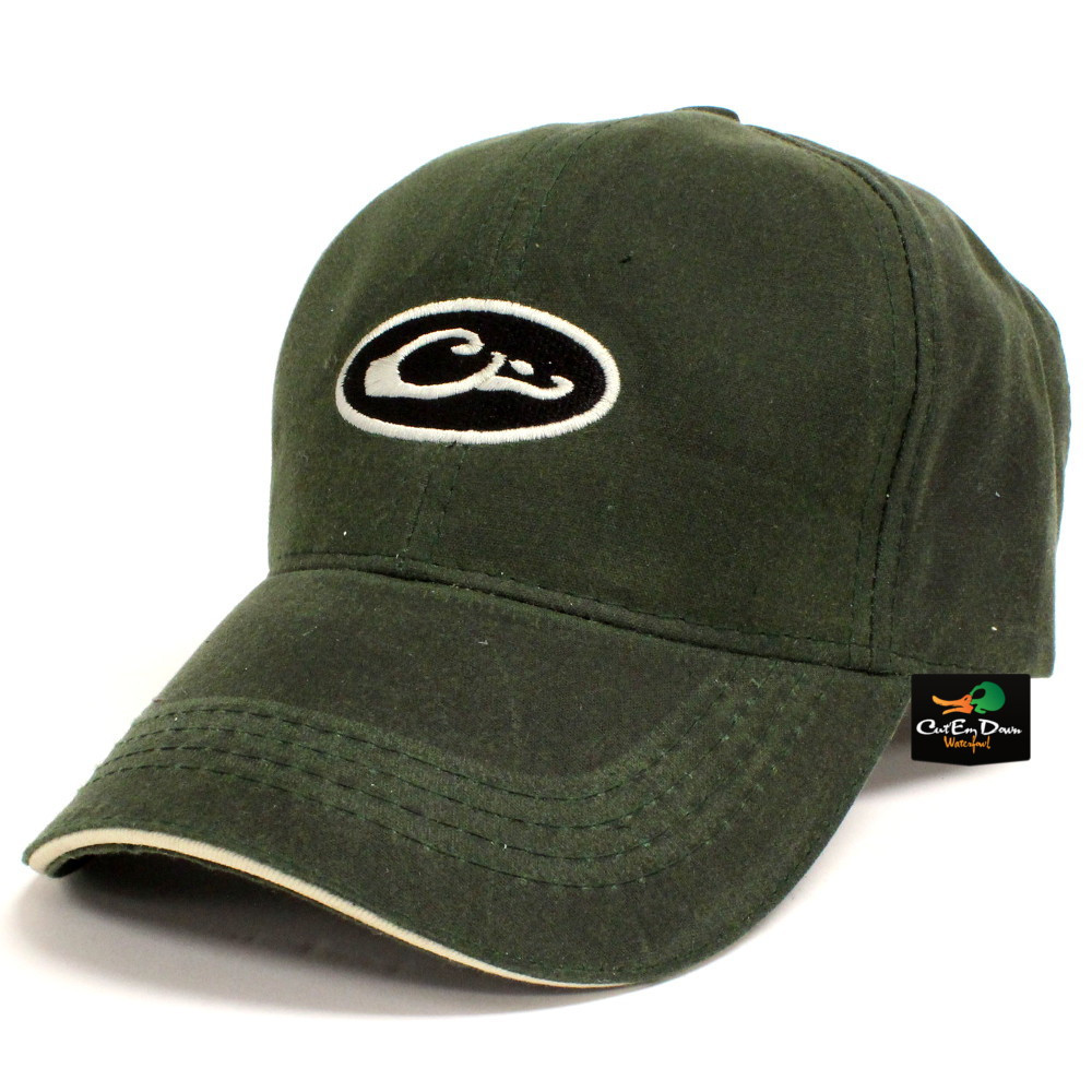 1a50933f4 Details about DRAKE WATERFOWL SYSTEMS WATERPROOF WAXED HAT BALL CAP OVAL  LOGO OLIVE