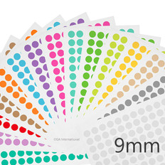 "Cryogenic Color Dots - 0.35"" / 9mm #LT-9A 15 assorted colors"