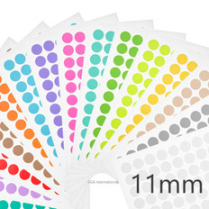 "Cryogenic Color Dots - 0.44"" / 11mm  #LT-11A 15 Assorted Colors"