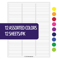 "Cryo laser labels - 2.64"" x 0.277"" #RCL-11-A1 (12 assorted colors)"