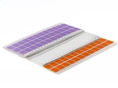 "Dot matrix pin fed paper labels removable 0.94"" x 0.75"" / 23.8mm x 19mm fanfold colors (3 across) 20,000/pk EDP-01"