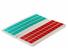 "Dot matrix pin fed paper labels permanent 0.94"" x 0.75"" / 23.8mm x 19mm fanfold colors (3 across) 20,000/pk EDP-01P"