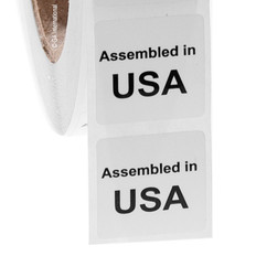 "Assembled in USA - Oil-proof country of origin labels - 1"" x 1"" #ABA-1002"