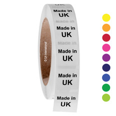"Made in UK - Oil-proof country of origin labels - 1"" x 1"" #ABA-1039"