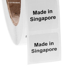 "Made in Singapore - Oil-proof country of origin labels - 1"" x 1"" #ABA-1031"