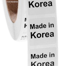 "Made in Korea- Oil-proof country of origin labels - 1"" x 1"" #ABA-1022"