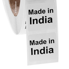"Made in India - Oil-proof country of origin labels - 1"" x 1"" #ABA-1018"