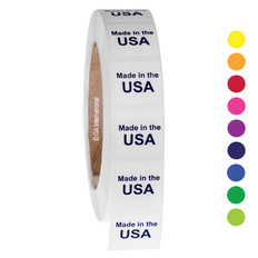 "Made in the USA - Oil-proof country of origin labels - 1"" x 1"" #ABA-1036"