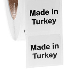 "Made in Turkey - Oil-proof country of origin labels - 1"" x 1"" #ABA-1037"