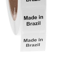 "Made in Brazil - Oil-proof country of origin labels - 1"" x 1"" #ABA-1005"