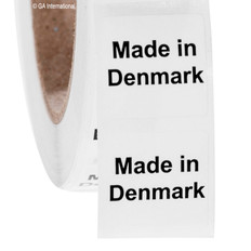 "Made in Denmark - Oil-proof country of origin labels - 1"" x 1"" #ABA-1011"