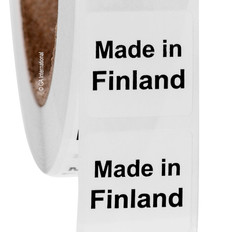 "Made in Finland - Oil-proof country of origin labels - 1"" x 1"" #ABA-1013"