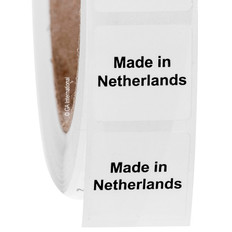 "Made in Netherlands - Oil-proof country of origin labels - 1"" x 1"" #ABA-1025"
