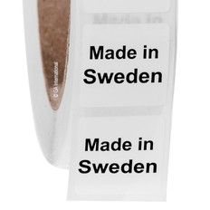"Made in Sweden - Oil-proof country of origin labels - 1"" x 1"" #ABA-1033"