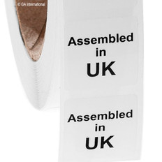 "Assembled in UK - Oil-proof country of origin labels - 1"" x 1"" #ABA-1001"