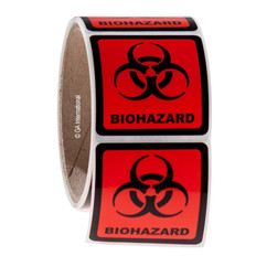 "BIOHAZARD warning labels 2"" x 2"" #WL-006"