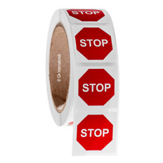 "STOP sign warning labels - 1.5"" x 1.5"" #WL-011"