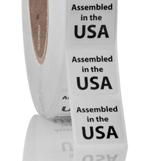 "Assembled in the USA - Oil-proof country of origin labels - 1"" x 1"" #ABA-1042"