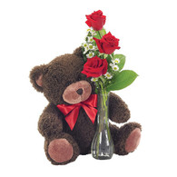 Classic Bud Vase (roses with a bear)