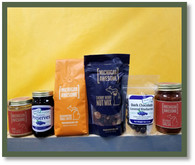 Excellent gift to proudly share our Michigan food products with those you love! This package comes with the following: 8 oz. White Chocolate Coconut Peanut Butter, 10 oz. Blueberry Preserves, 12 oz. of Mackin-Awesome Fudge Coffee, 8 oz. of Cherry Berry Nut Mix, 4 oz. of Dark Chocolate Covered Blueberries and a 14 oz. Hot Cherry Salsa.