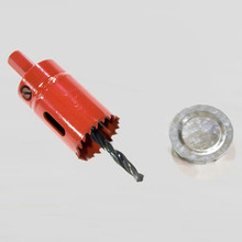 Bi-metal hole saw designed to drill access hole in EarthStraw Aluminum Well Caps when the location of the factory hole is over an obstruction in the well. Also comes with a Hole Plug for unused openings.