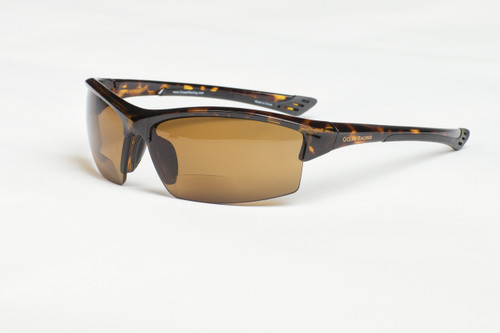 +2.0 Mackinaw Sun-Reader with tortoise frame and brown lenses, side view
