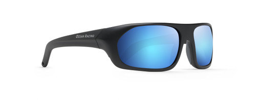 Matt black with hydrophobic coated blue mirror lenses.