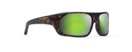 On point matt tortoise frames with hydrophobic coated green mirror finish polarized lenses.