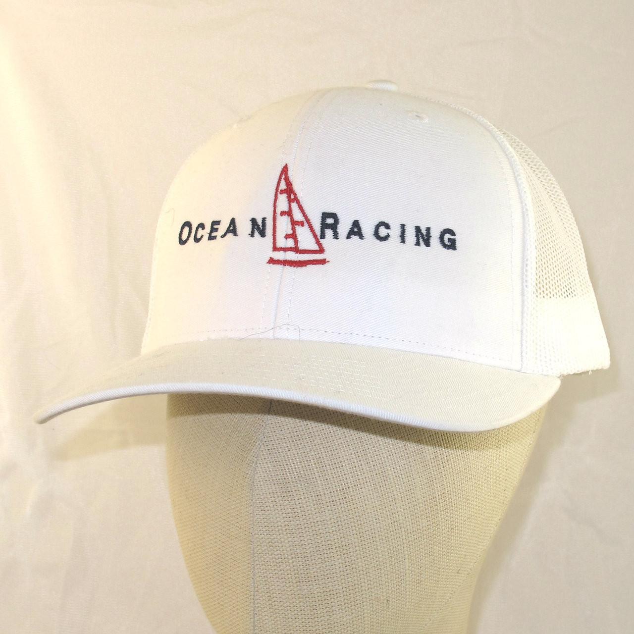39e0751c8 Trucker Style Snap Back Cap; White Ocean Racing - Ocean Racing Store