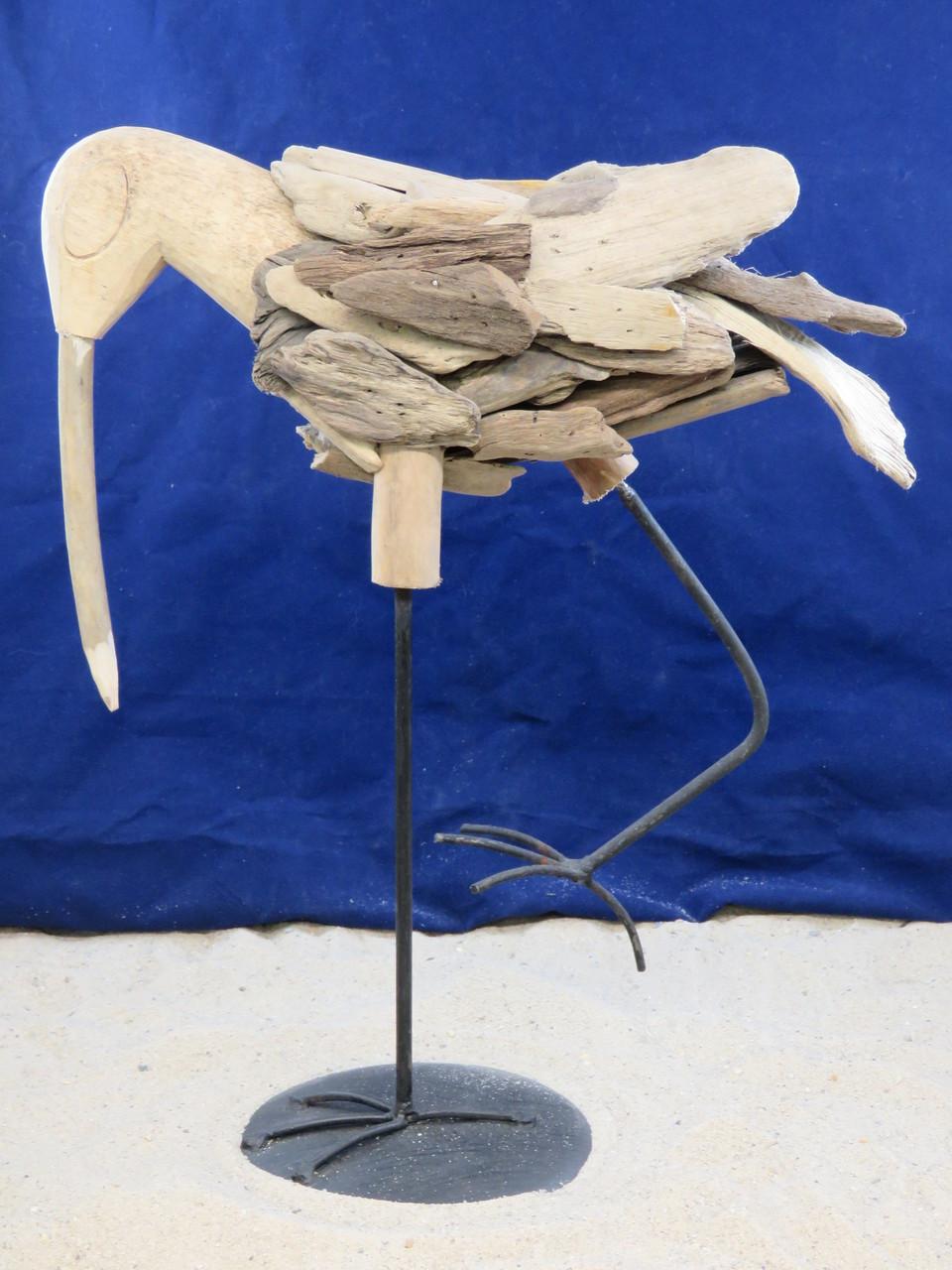 Driftwood Shorebird Sandpiper Egret Heron Sculpture Weathered Wood Coastal Beach Decor