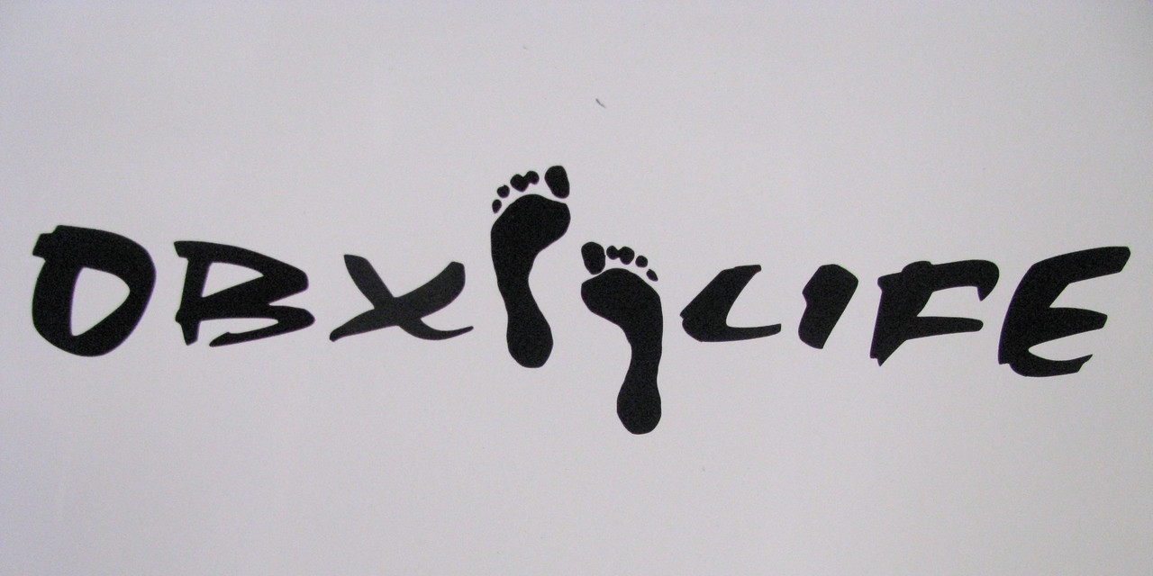 OBX Life Sticker Decal Bare Feet Outer Banks Footprint Black