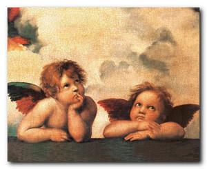 Sistine Madonna Cherubini Two Little Angels By Raphael Picture Art Print Poster (16x20)
