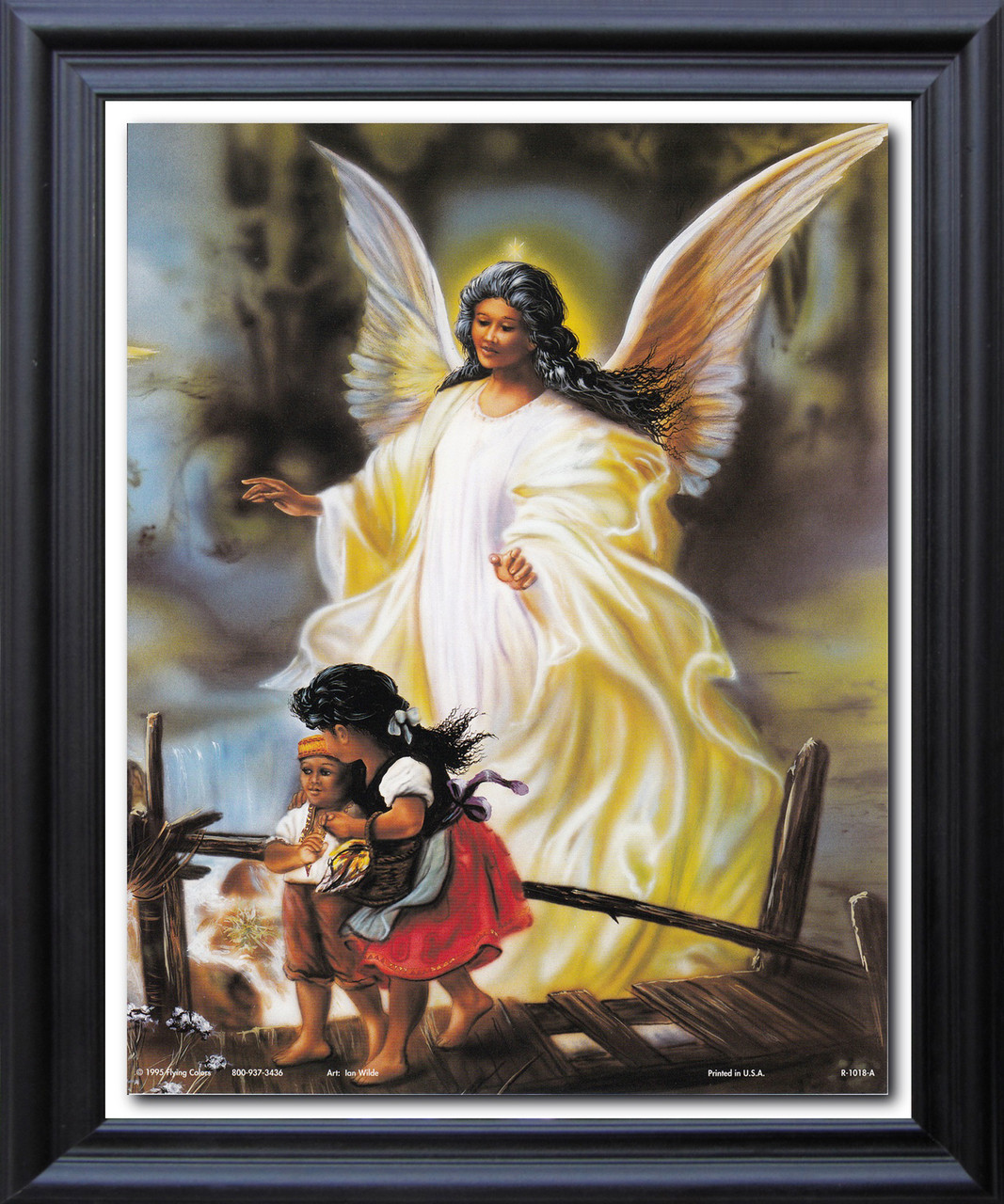 Guardian Angel With Children On Bridge Religious And Spiritual Wall Décor Black Framed Art Print Poster (19x23) & Guardian Angel With Children On Bridge Religious And Spiritual Wall ...