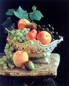 Fruit Grapes & Apple in Bowl Still Life Kitchen Wall Decor Art Print Poster (16x20)