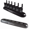 The 6-slot multi-unit charger saves time by copying settings from single radio to fleet of radios. It requires only a single outlet rather than several to preserve space and is compatible with Motorola VL and CLS 2-way radios or cordless phones.