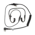 Motorola RMN5114 Lightweight Temple Transducer Headset Easily adjustable for an exact fit, worn behind the head. Includes a noise-cancelling in-line microphone with replaceable windscreen and push to talk button.