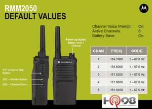 The Motorola RMM2050 comes complete pre-loaded with 5 MURS VHF frequencies. Great durable hard working business radio for your company needs.