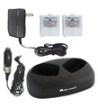 The Midland AVP-6 includes a charging base unit, car adapter, wall adapter, and two NiMH rechargeable battery packs,