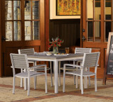"Oxford Garden Travira 39"" Square Dining Table with Alstone Graphite Top"